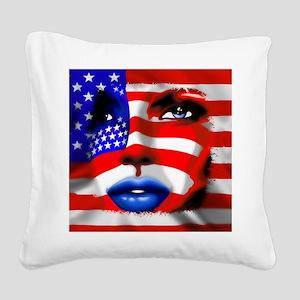 USA Stars and Stripes Woman Portrait Square Canvas