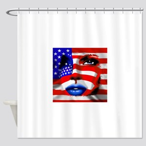 USA Stars and Stripes Woman Portrait Shower Curtai