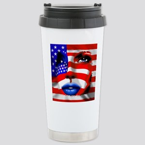 USA Stars and Stripes Woman Portrait Travel Mug