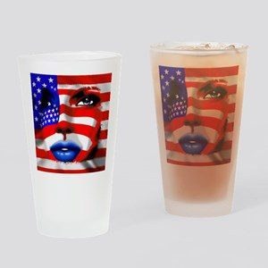 USA Stars and Stripes Woman Portrait Drinking Glas