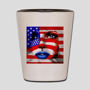 USA Stars and Stripes Woman Portrait Shot Glass
