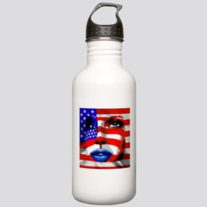USA Stars and Stripes Woman Portrait Water Bottle