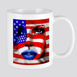 USA Stars and Stripes Woman Portrait Mugs