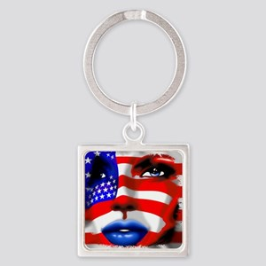 USA Stars and Stripes Woman Portrait Keychains