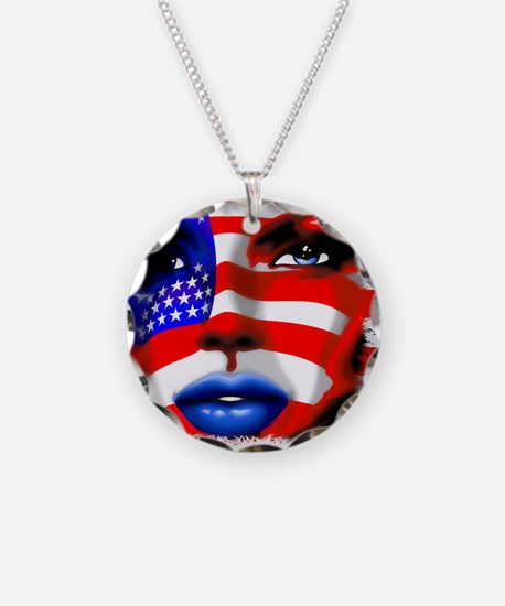 USA Stars and Stripes Woman Portrait Necklace