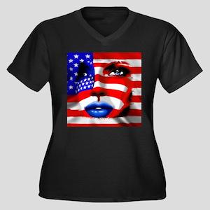 USA Stars and Stripes Woman Portrait Plus Size T-S