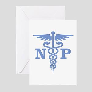 Caduceus NP (blue) Greeting Cards