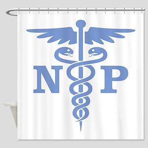 Caduceus NP (blue) Shower Curtain