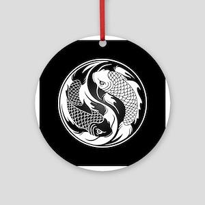 Black and White Yin Yang Koi Fish Ornament (Round)
