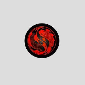 Red and Black Yin Yang Koi Fish Mini Button