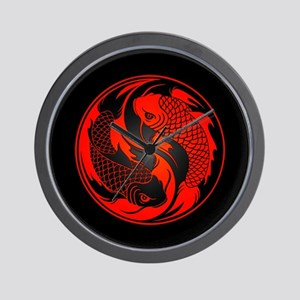 Red and Black Yin Yang Koi Fish Wall Clock