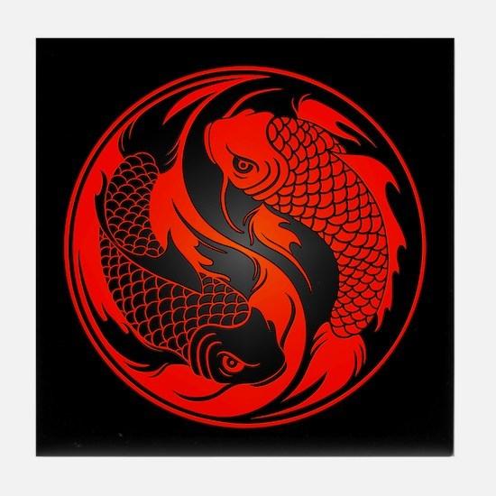 Red and Black Yin Yang Koi Fish Tile Coaster