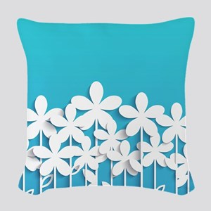Pretty Flowers Woven Throw Pillow