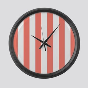 Salmon and White Stripes Large Wall Clock