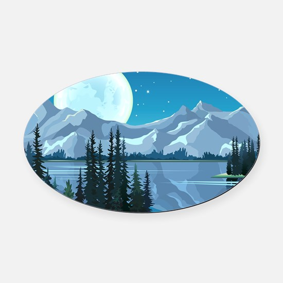 Mountain Sky Oval Car Magnet