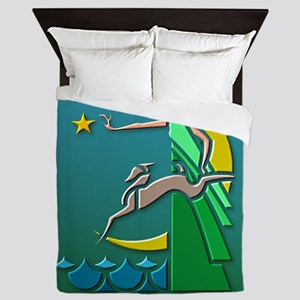 Art Deco Girl 2 Queen Duvet
