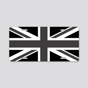 Union Jack - Black and White Aluminum License Plat
