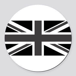 Union Jack - Black and White Round Car Magnet