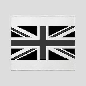 Union Jack - Black and White Throw Blanket