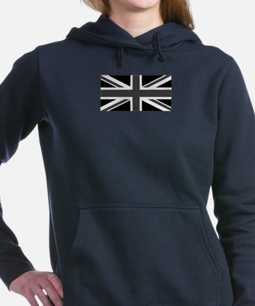 Union Jack - Black and White Women's Hooded Sweats