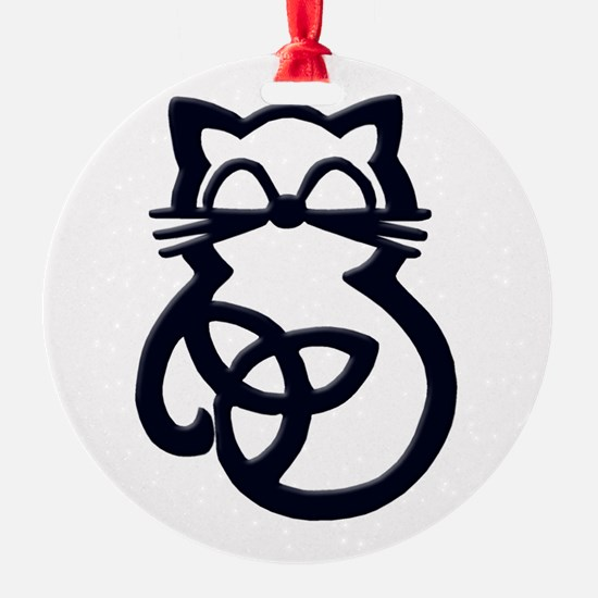 Black Trinity Knot Celtic Cat Ornament