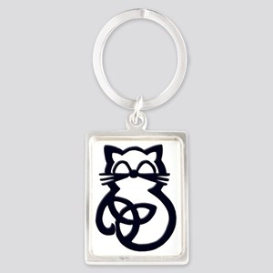 Black Trinity Knot Celtic Cat Keychains