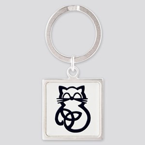 Black Trinity Knot Celtic Cat Keychains