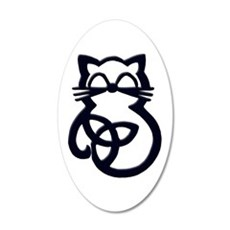 Black Trinity Knot Celtic Cat Wall Decal