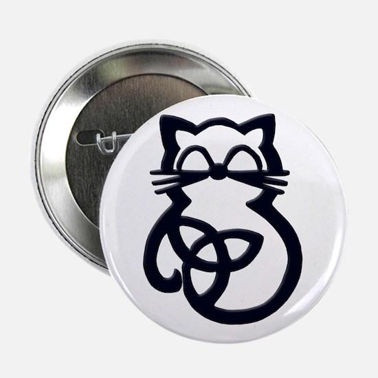 "Black Trinity Knot Celtic Cat 2.25"" Button (10 pac"