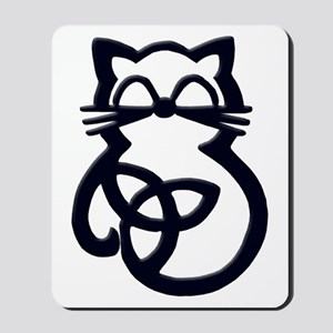 Black Trinity Knot Celtic Cat Mousepad