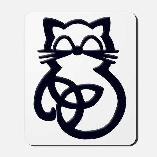 Black Trinity Knot Celtic Cat Mousepad