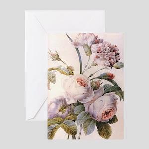 Vintage pink rose  flowers botanical Greeting Card