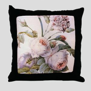 Vintage pink rose  flowers botanical  Throw Pillow