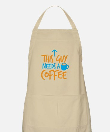 This guy needs a coffee! with arrow up Apron
