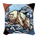 Native Bear Art Woven Throw Pillow