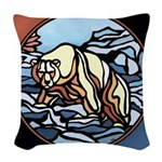 Native Bear Art Woven Throw Pillow