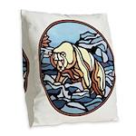 Native Bear Art Burlap Throw Pillow