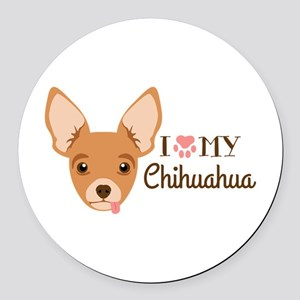 I My Chihuahua Round Car Magnet