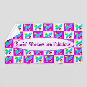 Pink Social Work Beach Towel