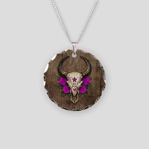 Purple Day of the Dead Bull Sugar Skull Wood Neckl