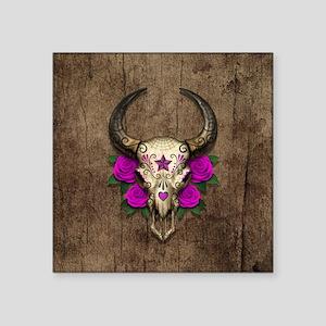 Purple Day of the Dead Bull Sugar Skull Wood Stick