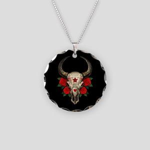 Red Day of the Dead Bull Sugar Skull Black Necklac