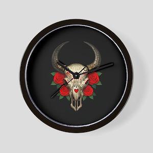 Red Day of the Dead Bull Sugar Skull Black Wall Cl