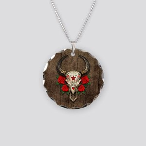 Red Day of the Dead Bull Sugar Skull Wood Necklace
