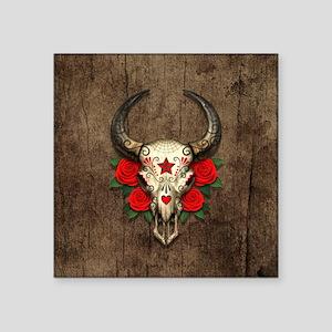 Red Day of the Dead Bull Sugar Skull Wood Sticker