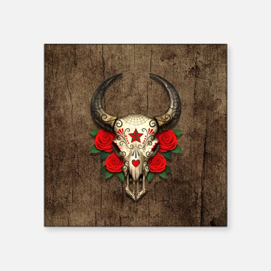 Red Day of the Dead Bull Sugar Skull Wood Sticker