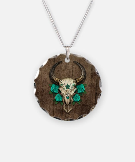 Teal Day of the Dead Bull Sugar Skull Wood Necklac