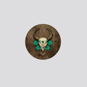 Teal Day of the Dead Bull Sugar Skull Wood Mini Bu