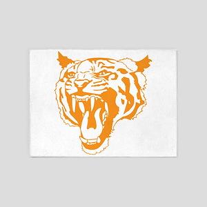 Orange Tiger Head 5'x7'Area Rug