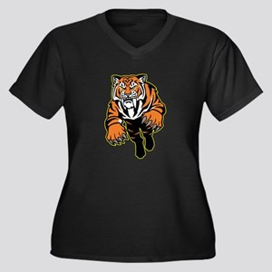 Orange Tiger Mascot Plus Size T-Shirt
